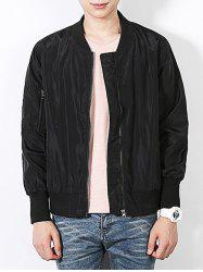 Stand Collar Bomber Jacket with Sleeve Pocket