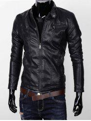 Stand Collar Zipper Pocket Faux Leather Jacket - BLACK 3XL