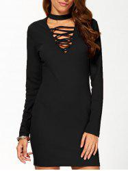 High Neck Long Sleeve Lace Up Bodycon Dress -