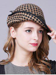 Vintage Houndstooth Layered Rope Winter Hat