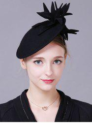 Vintage Flower Feather Cocktail Hat - BLACK