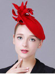 Vintage Flower Feather Cocktail Hat - RED