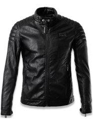 Faux Leather Stand Collar Zip Up Jacket - BLACK