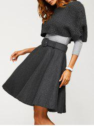 Fitted Sweater With Knitted Crop Top Wool Skirt - GRAY