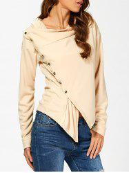 Buttoned Draped Waterfall Hoodie -