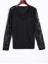 Lace Spliced See Through Tee -