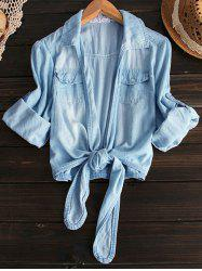 Shirt Neck Tied Denim Shirt -