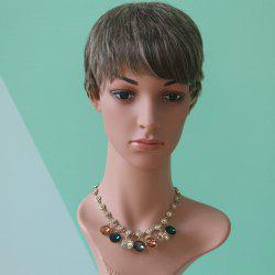 Short Pixie Cut Neat Bang Straight Mixed Color Synthetic Wig