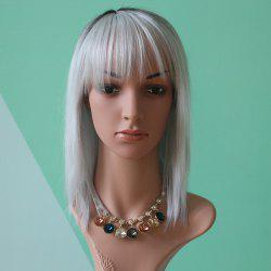 Medium Full Bang Straight Double Color Synthetic Wig -