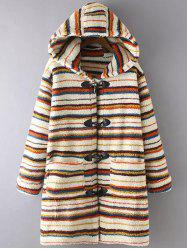 Stripe Fluffy Coat With Hood -