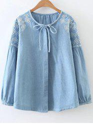 Embroidered Button Up Denim Blouse -