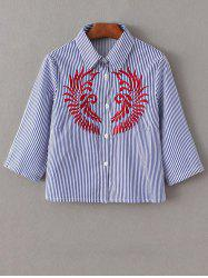 Embroidered Striped Button Up Cropped Shirt -