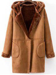 Faux Shearling Coat With Pockets - CAMEL L