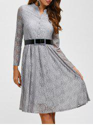 Lace Belted Long Sleeve Pleated Dress