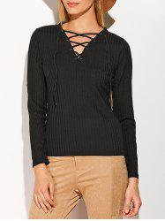 Patched Sleeve Ribbed Lace-Up Top - BLACK XL