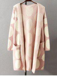 Hooded Polka Dot Knitted Cashmere Cardigan -