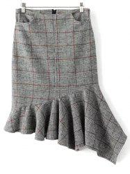 Plaid Asymmetric Mermaid Winter Skirt -