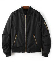 Zipped Bomber Jacket - BLACK