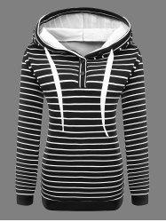 Buttoned Striped Drawstring Hoodie - BLACK