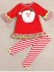 Christmas Santa Long Sleeve Tops Striped Pants Outfits - RED