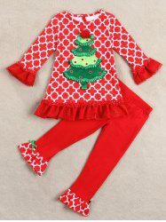 Kids Christmas Tree Long Sleeve Tops and Pants Outfits - RED