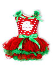 Christmas Polka Dot Santa Clause Embroidered Dress - RED