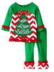 Christmas Tree Zig Zag Ruffle Sleeve T-Shirt + Flounce Pants Twinset - GREEN