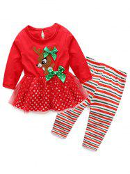 Kids Christmas Elk Dress With Striped Pants Outfits - RED