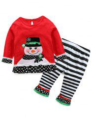 Kids Christmas Snowman T-Shirt With Striped Pants Outfits -