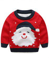 Kids Santa Jacquard Pullover Christmas Sweater - RED