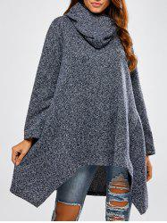 Hooded Asymmetric Loose Sweater - CADETBLUE ONE SIZE
