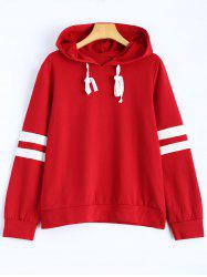 Hooded Striped Sweatshirt - WINE RED L