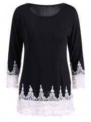 Crochet Lace Insert T Shirt
