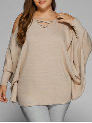 Plus Size Cold Shoulder V Neck Dolman Sleeve Sweater - KHAKI