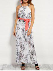 Printed Maxi Belted Beach Dress