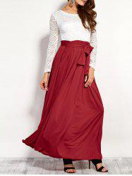 Lace Panel Maxi Evening Dress with Long Sleeves - RED XL