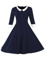 Fit and Flare Color Block Vintage Dress