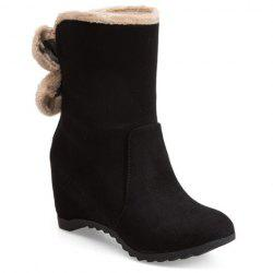 Bow Mid Calf Hidden Wedge Boots