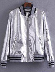 Metallic Color Zipper Pocket Bomber Jacket -