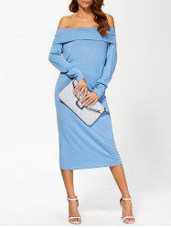 Off The Shoulder Long Sleeve Tea Length Dress - BLUE
