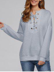 Lace-Up Ribbed Sweatshirt -