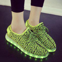 Color Block Lights Up Led Luminous Lace-Up Athletic Shoes