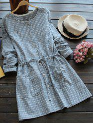 Long Sleeve Drawstring Checked Dress - BLUE GRAY