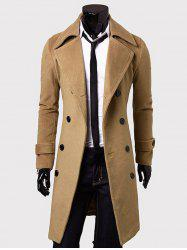 Lengthen Double Breasted Wool Coat - CAMEL