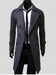 Lengthen Double Breasted Wool Coat - GRAY