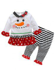Kids Christmas Cartoon T-Shirt With Striped Pants Outfits - WHITE