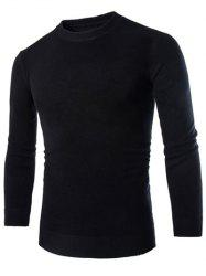 Laconic Round Neck Wheat Embroidered Stripes Intarsia Long Sleeves Men's Slim Fit Sweater - BLACK