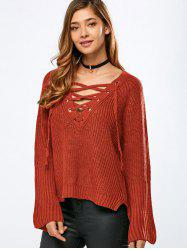 V Neck Long Sleeve Lace Up Sweater - ORANGE ONE SIZE
