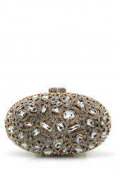 Oval Rhinestone Evening Bag - GOLDEN