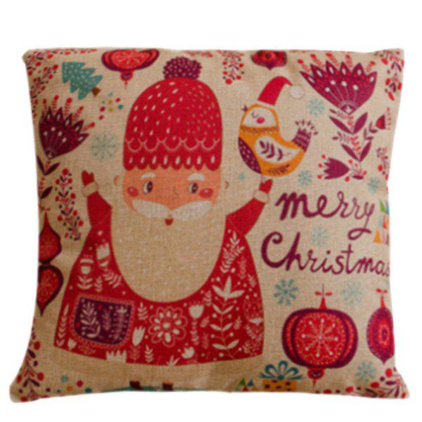 Festival Cartoon Santa Claus Pillow CaseHOME<br><br>Color: RED; Material: Polyester / Cotton; Pattern: Printed; Style: Modern/Contemporary; Shape: Square; Size(CM): 45*45; Weight: 0.110kg; Package Contents: 1 x Pillow Case;